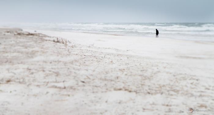 Moment réflectif sous le bruit du vent soulevant le sable